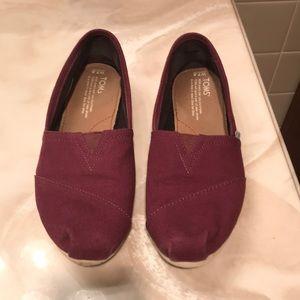 Toms Canvas Slip On Shoes Sz 7.5 Burgundy